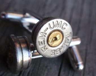 Bullet Shell Cufflinks  38 SPECIAL...  Two Tone  gold silver by ArtifactsNRelics