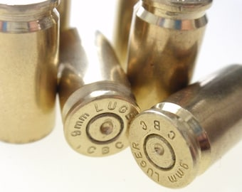 6 Mixed 9mm Empty Brass shells bullet casings brass rounds cases cartridges empties shells,reloads, spent gun