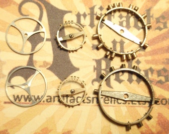 10 Vintage Pocket Watch Balance Wheels gears steampunk matching pairs BW1