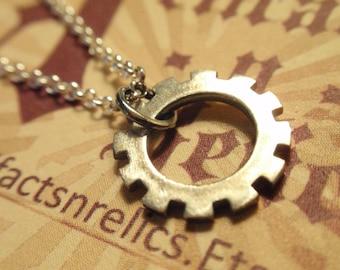 Steampunk Sterling Silver industrial Clock gear clockwork choker Necklace