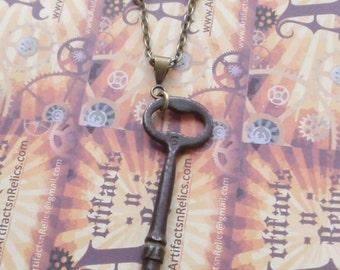 Skeleton key necklace, Olde World Vintage, RED Swarovski Crystals Antique no 6 key