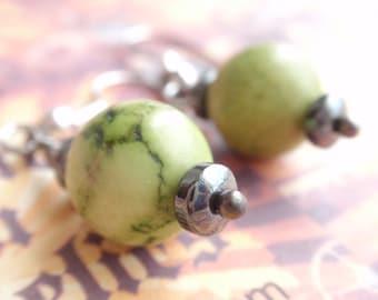 Green Howlite and Hemitite dainty Earrings.