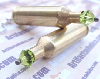 Bullet Earrings Tiny FIREBALL Peridot Green Swarovski august birthstone