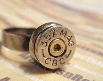Bullet Casing Ring 357 Magnum Caliber Nickel shell in Adjustable Antique Silver Setting SIZE 7 - 11