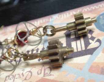 Steampunk Gear Earrings w red crystal and Vintage watch balance wheels w gears