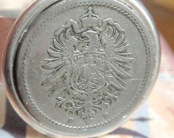 Vintage Coin Ring Eagle crest antique silver plated adjustable ring