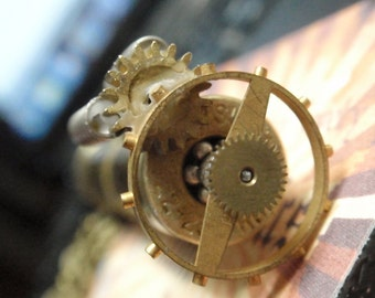 "Steampunk Time Capsule Vial Necklace with Gears on 18"" antiqued Brass necklace Post-Apocalyptic Steampunk style Secret chamber necklace"
