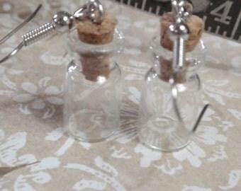 Miniutare Bottle Earrings tiny  vintage style glass bottle dangle earrings