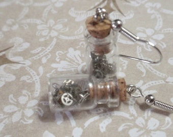 Clockwork  Bottle Earrings tiny  vintage style glass bottle dangle earrings