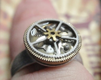 Steampunk Ring Clockwork Mechanism Adjustable Silver ring  SIZE 7 to 11 Up Cycled repurposed ring