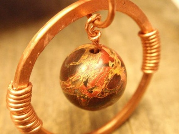 the Rings of Planet Fire - Copper Bredicated Jasper pendant upcycled, recycled