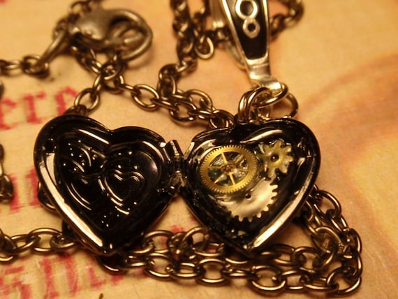 Near and Gear to my Heart Locket  18in necklace Steampunk Love