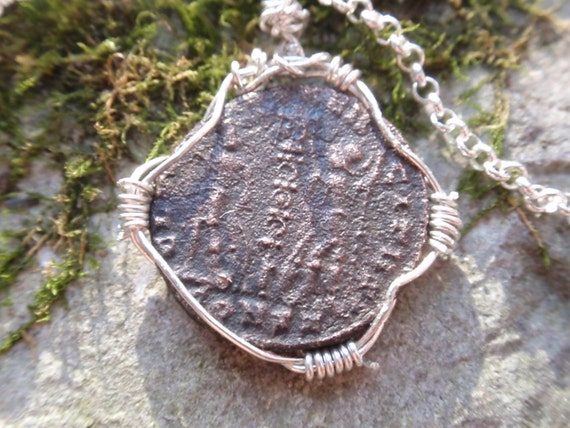 Ancient Roman coin Sterling silver ROLO Necklace Ancient ROME Bronze Coin