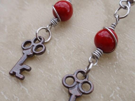 Key in the RED  - Mini Skeleton Key steampunk  earrings