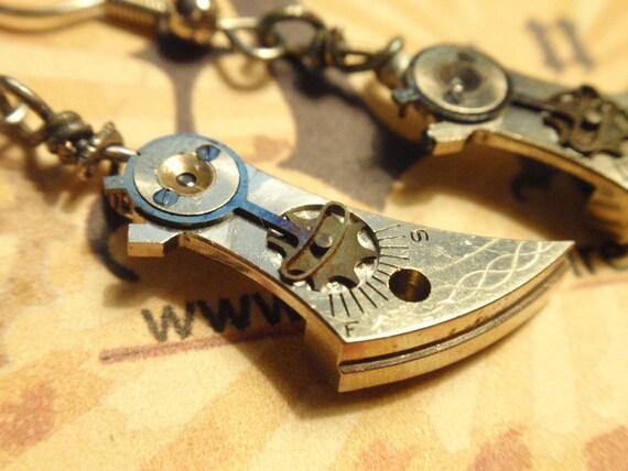 Vintage Steampunk engraved Watch Cock Earrings w black center gear