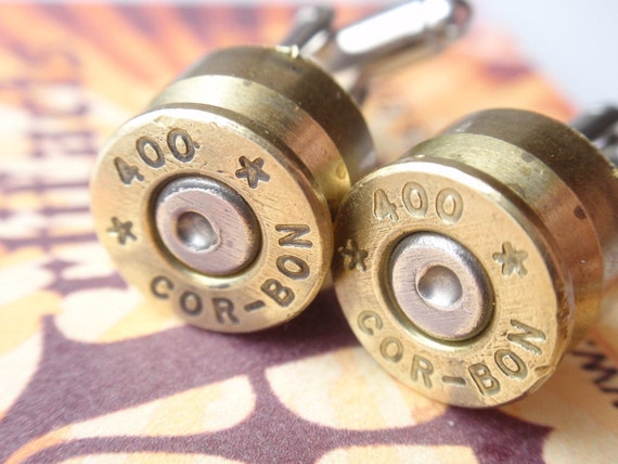 Cor - Bon 400 Bullet Shell 2 tone Cufflinks by ArtifactsNRelics