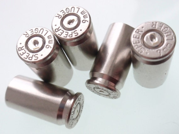 10 Mixed 9mm Nickel Empty brass shells bullet casings rounds cases, cartridges empties reloads spent