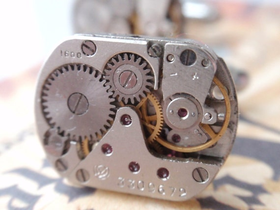 Steampunk cufflinks industrial gear clockwork machine 2 tone cuff links