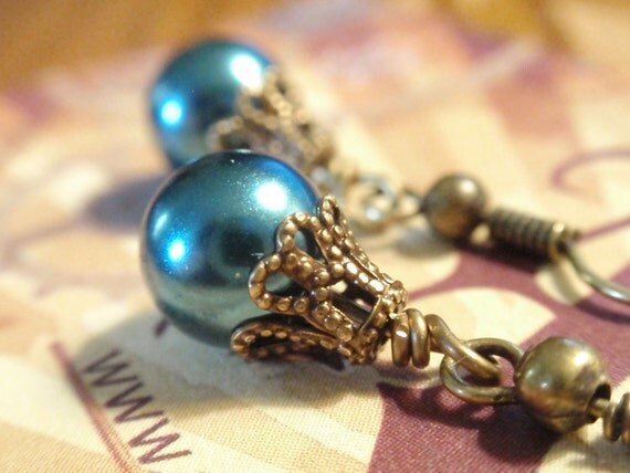 Glass Pearl Earrings Teal Blue Glass Pearl Drop Earrings with Bronze Filigree