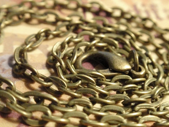 "Antiqued Bronze Chain LINK  for pendants 16, 18"", 20"", 22"" or 24"" inch necklace"