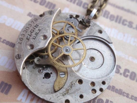 Antique Watch Steampunk Necklace nice details OOAK WPN 22