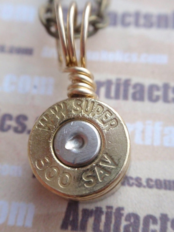 Bullet Necklace 300 SavageTwo Tone Silver & Gold Bullet Shell