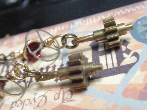 Steampunk Gear Earrings w red crystal and Vintage watch balance wheels w gears
