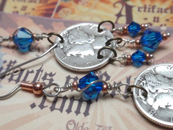 Mercury Dime Jewelry US silver mercury dime dangle earrings