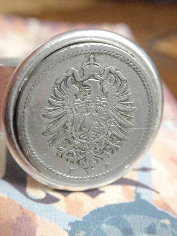 Vintage Coin Ring Eagle crest antique silver plated adjustable ring
