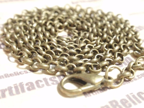 Antiqued Bronze ROLO Chain for pendants you choose length up to 24 inches necklace 3mm dia