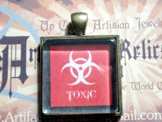 Toxic Biohazard Necklace photo pendant red on 18 inch matching antiqued brass chain