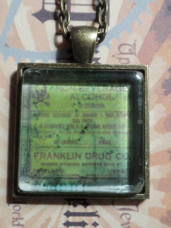 Grungy Vintage Apothecary Poison Necklace square photo pendant on 18 inch matching antiqued brass chain
