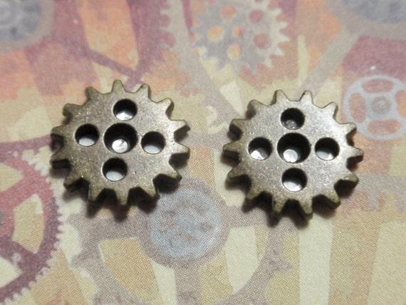 Steampunk Gear Earrings Post Stud style Ox Brass in color 5 hole