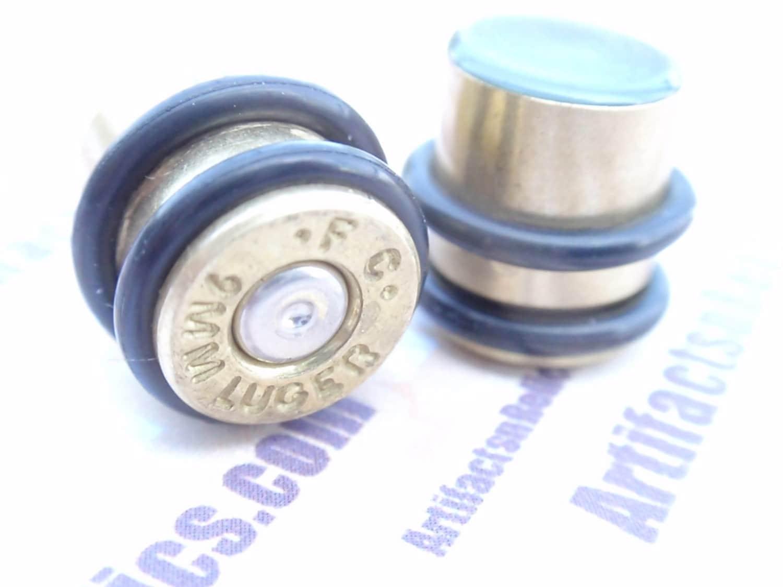 9mm Bullet Plug Earrings Bullet Shell 00 Gauge 3 8