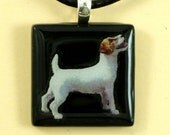 Jack Russell Glass Tile pendent