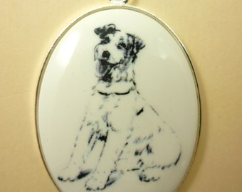 Fox Terrier on white cabochon in silver tone pendent