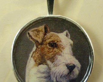 Altered Art Fox Terrier in round silver plated pendent