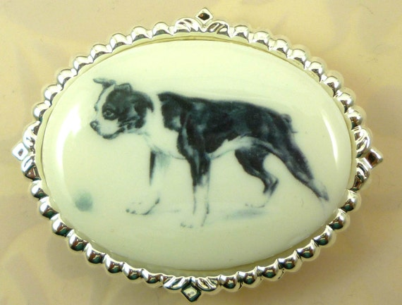 Vintage Altered Art Boston Terrier on a Cabochon in Silver-Tone Brooch