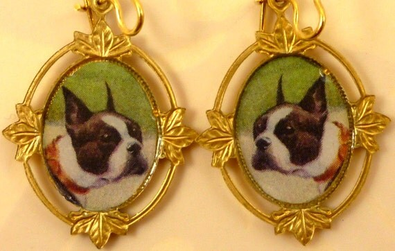 Altered Vintage Art Boston Terrier in Brass Earrings