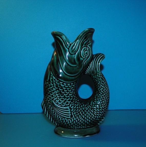Items similar to glug glug jug art deco fish vase gurgling fish jug pitcher made in - Fish pitcher gurgle ...