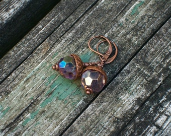 Dusted Amethyst Acorns, Czech glass, antiqued copper beadcaps, nature inspired copper earrings, soft amethyst vitrail coat seed forest fall