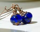 Long dangle Glass Earrings, Beaded Earrings Long Earrings Cobalt Blue Earrings Glass And Copper earrings Summer Jewelry