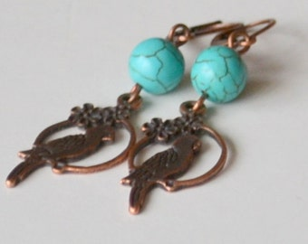 Dangle Turquoise Earrings, Bird earrings, Turquoise And Antique Copper Parrot Earrings