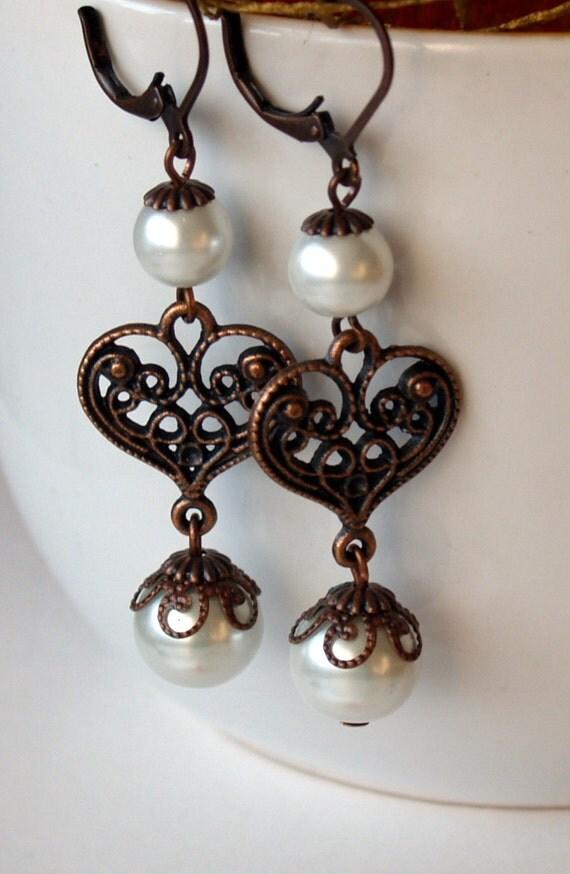Pearl Earrings With Copper Heart  Wedding Earrings