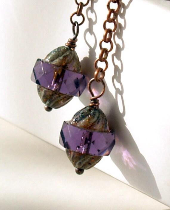 Amethyst Earrings Long Earrings Picasso Czech Faceted Turbine Glass Beads And Antique Copper Earrings