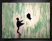 JMJARTSTUDIO Original Painting 18 X 24 Inches--------Singing in the rain----------Textured