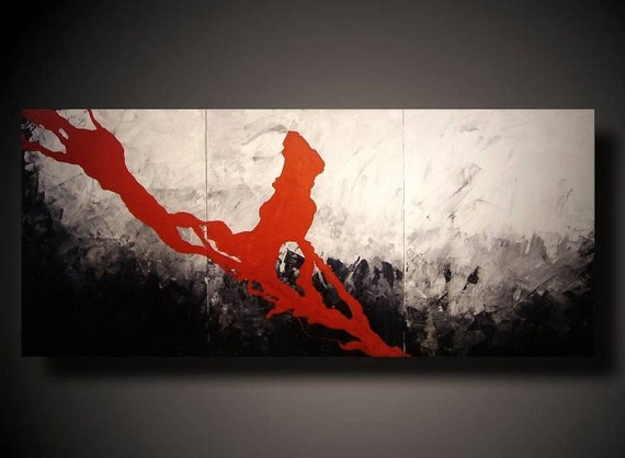 Huge JMJARTSTUDIO OriginaL 3 PIECE PaintING 24 inches X 54 inches Black ,White and Red----- suddenly----