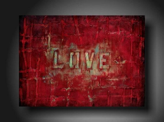 Original Painting Art  JMJARTSTUDIO Original Painting 18 X 24 Inches--------Love---------Textured