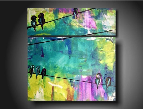 Art Painting Original Jmjartstudio Original Painting  2 piece painting 28 x 24 -------Happiness------