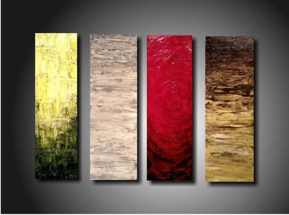 ORIGINAL Abstract Contemporary Fine Art Abstract Textured Painting modern 4  Piece Painting 24 Inches X 32 Inches -----Indifference------